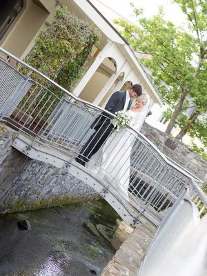 Annebrook House Hotel Wedding Couple on Bridge