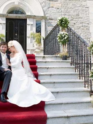 Annebrook House Hotel Wedding Couple on Steps