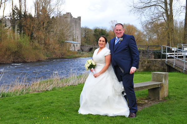 Sinead and Niall real wedding at the Dolmen Hotel with Castle in the Background