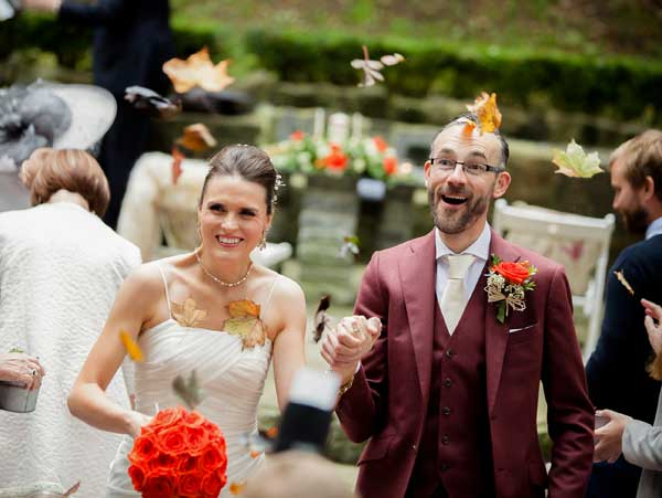 Adrienne and Anthony Were married in the Station House Hotel on 7th October Leaf Confetti