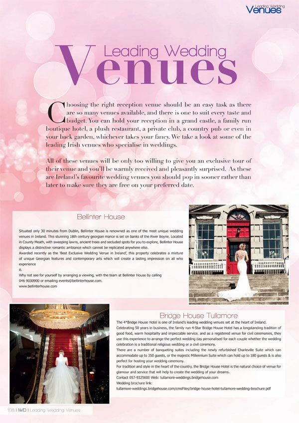 Irish Wedding Diary Magazine Autumn 2019 Wedding Venues