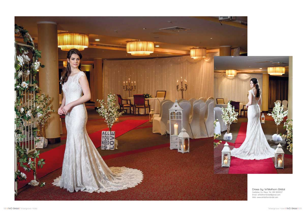 Dress by Whitethorn Bridal shot at the Westgrove Hotel Clane